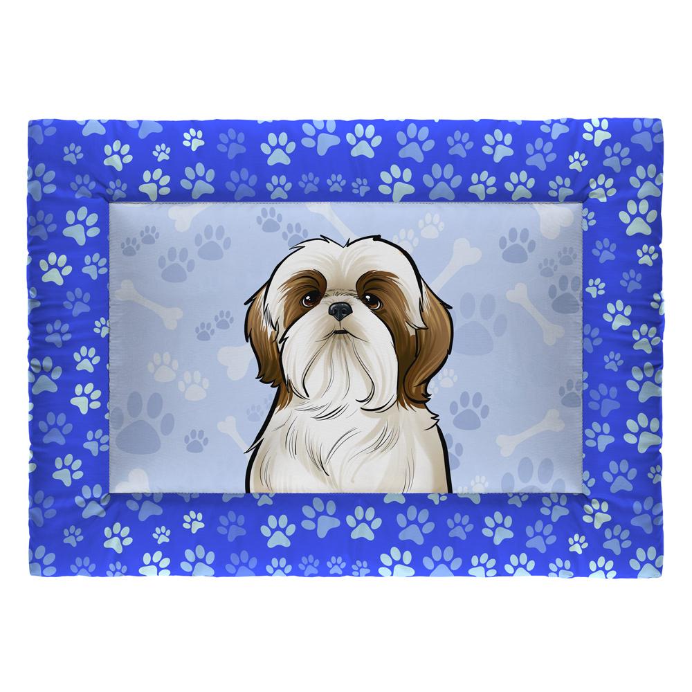 Colchonete Cama Tapete Pet Cães 63x43cm Azul Shih-Tzu