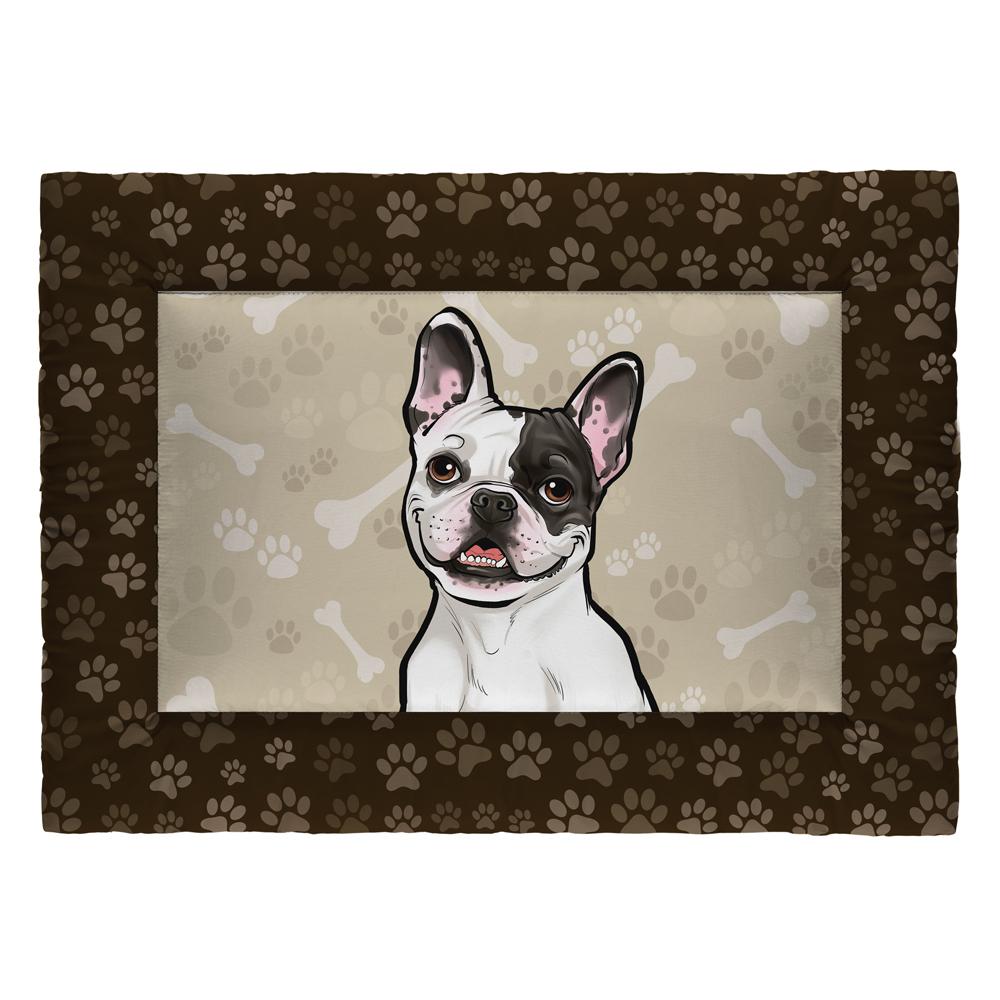 Colchonete Cama Tapete Pet Cães 63x43cm Marrom Bulldog Francês