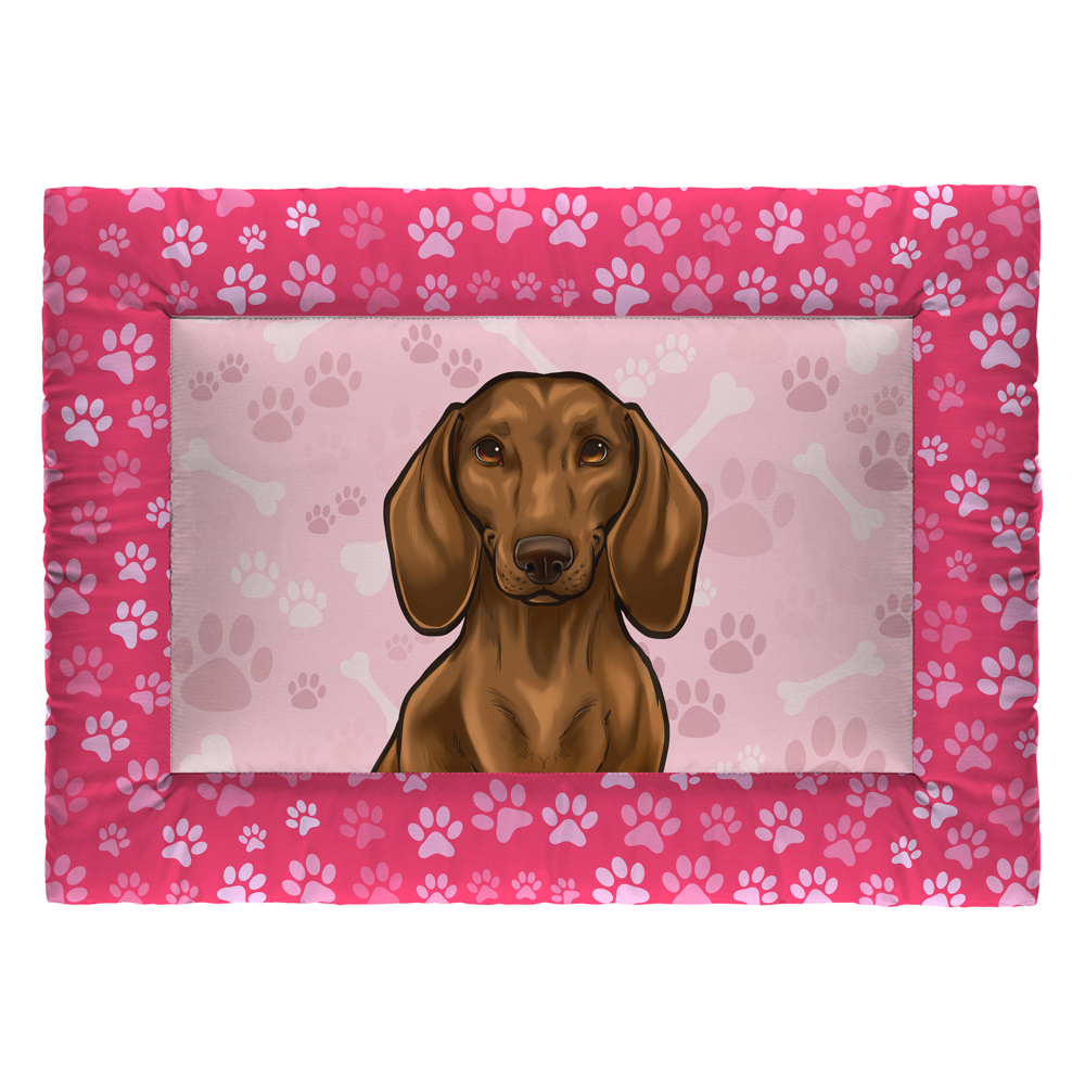 Colchonete Cama Tapete Pet Cães 63x43cm Rosa Basset