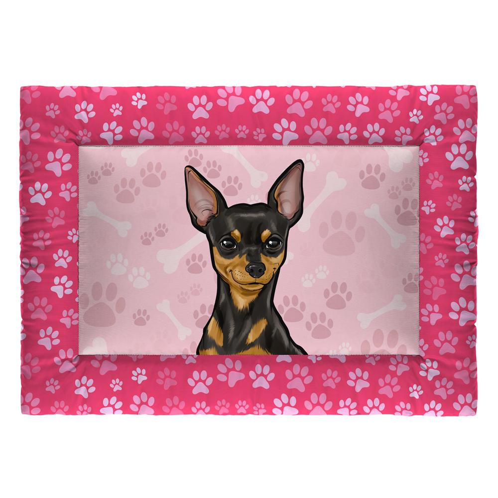 Colchonete Cama Tapete Pet Cães 63x43cm Rosa Pinscher