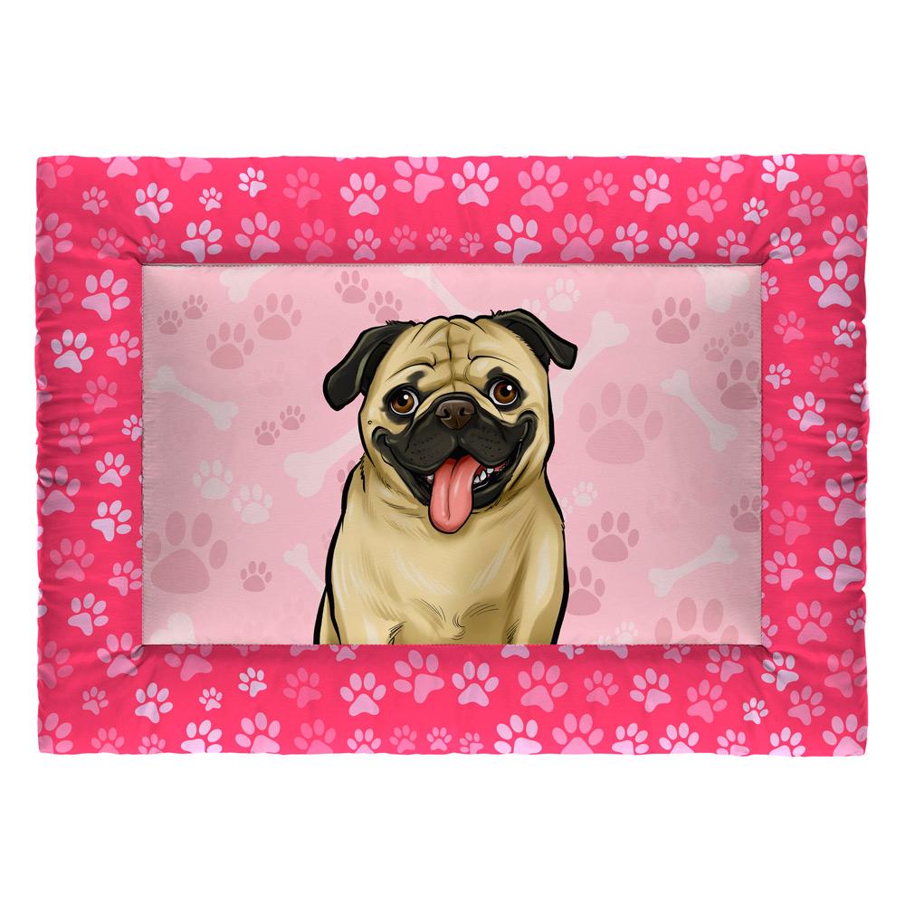 Colchonete Cama Tapete Pet Cães 63x43cm Rosa Pug