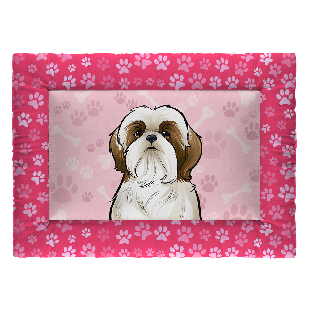 Colchonete Cama Tapete Pet Cães 63x43cm Rosa Shih-Tzu