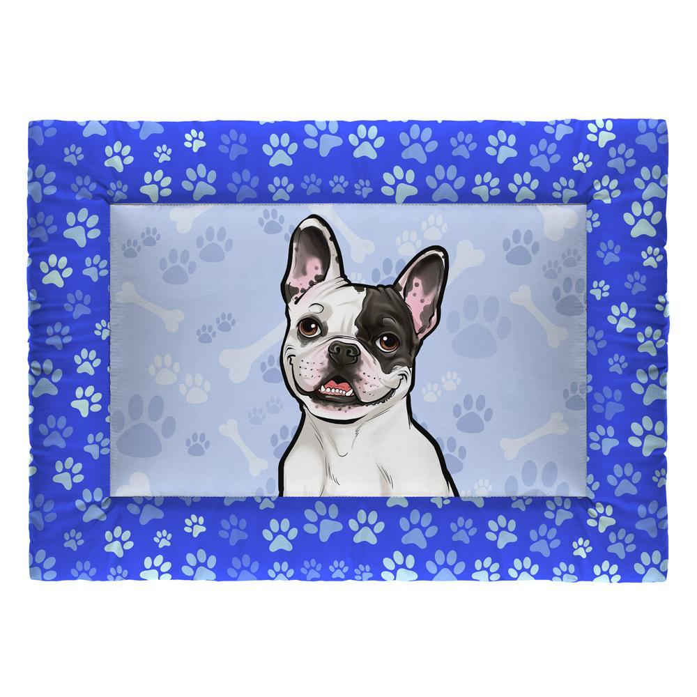 Colchonete Cama Tapete Pet Cães 73x50cm Azul Bulldog Francês