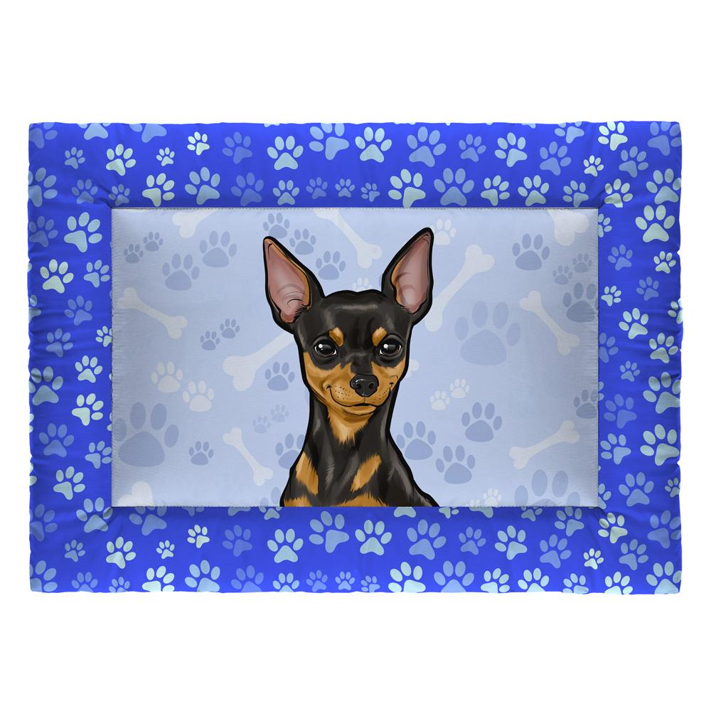 Colchonete Cama Tapete Pet Cães 73x50cm Azul Pinscher