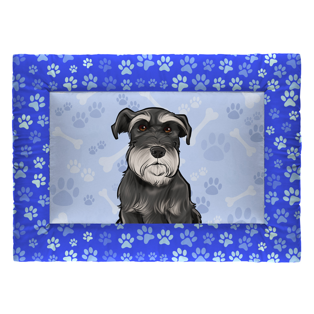 Colchonete Cama Tapete Pet Cães 73x50cm Azul Schnauzer