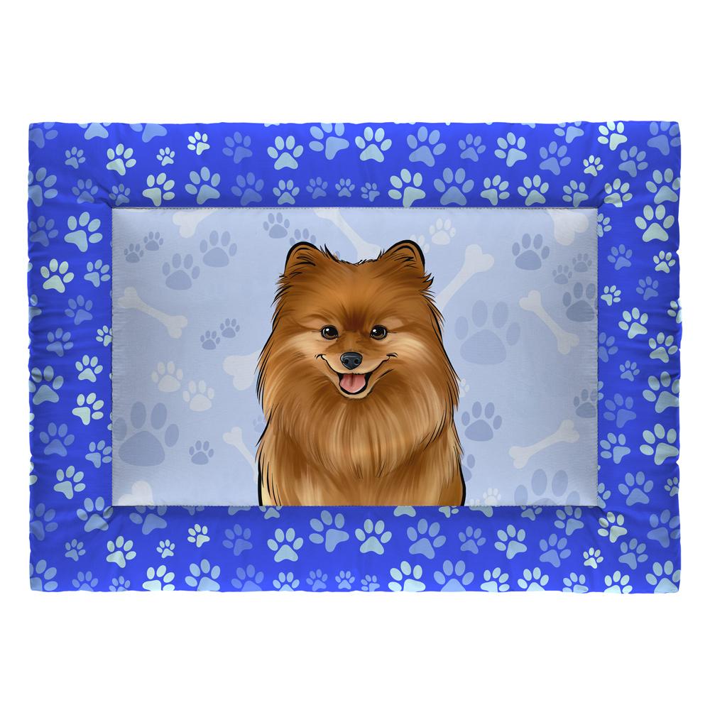 Colchonete Cama Tapete Pet Cães 73x50cm Azul Spitz Alemão