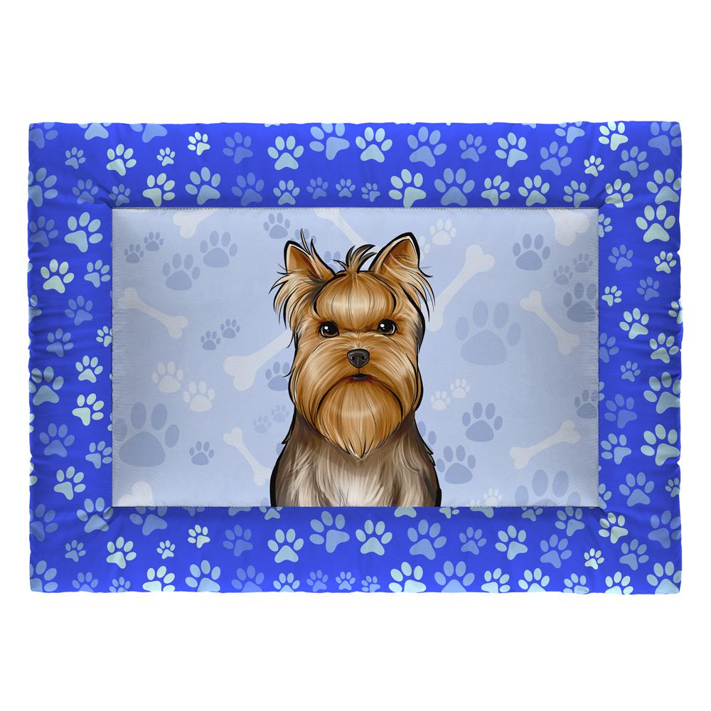 Colchonete Cama Tapete Pet Cães 73x50cm Azul Yorkshire