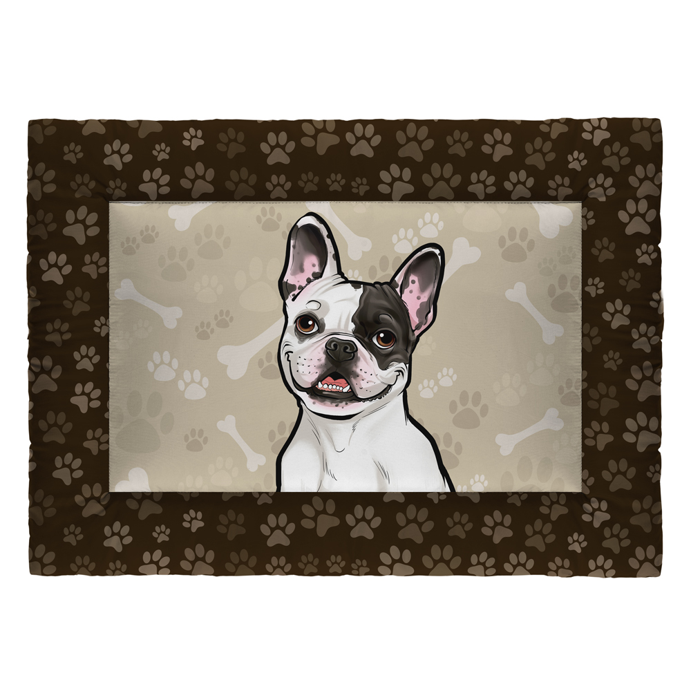 Colchonete Cama Tapete Pet Cães 73x50cm Marrom Bulldog Francês