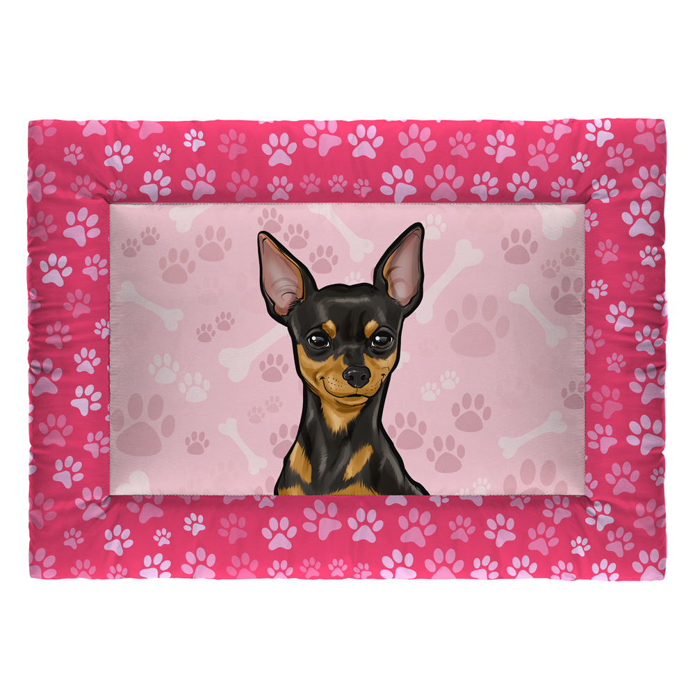 Colchonete Cama Tapete Pet Cães 73x50cm Rosa Pinscher
