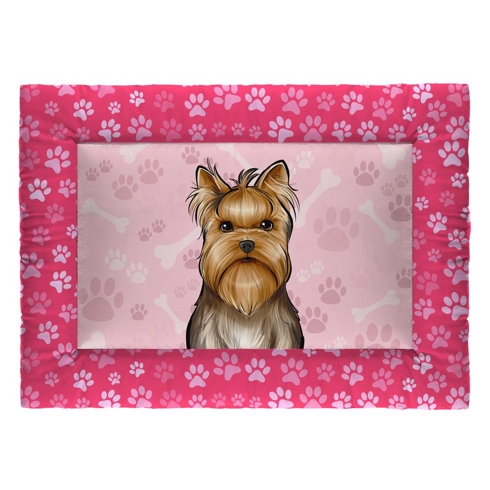 Colchonete Cama Tapete Pet Cães 73x50cm Rosa Yorkshire