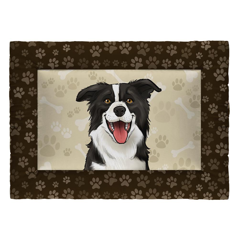 Colchonete Cama Tapete Pet Cães 87x60cm Marrom Border Collie