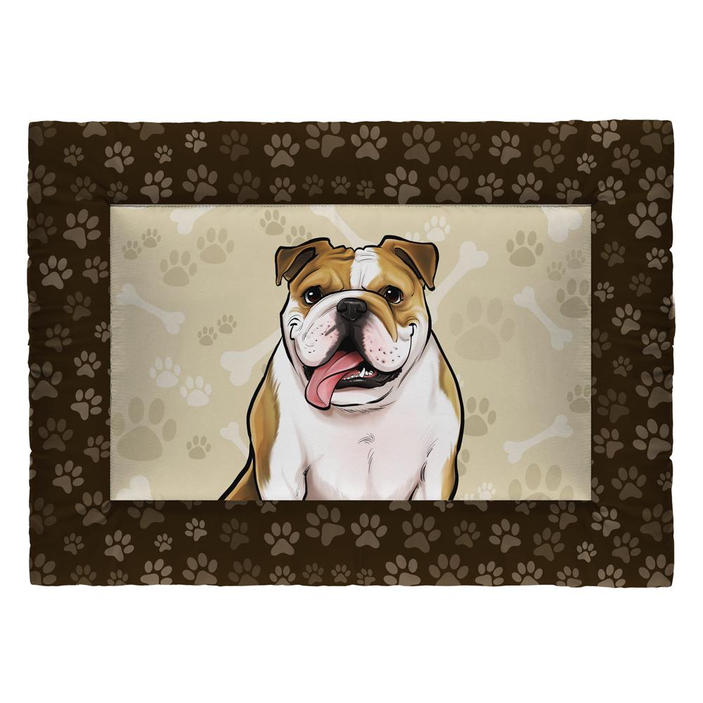 Colchonete Cama Tapete Pet Cães 87x60cm Marrom Bulldog Inglês