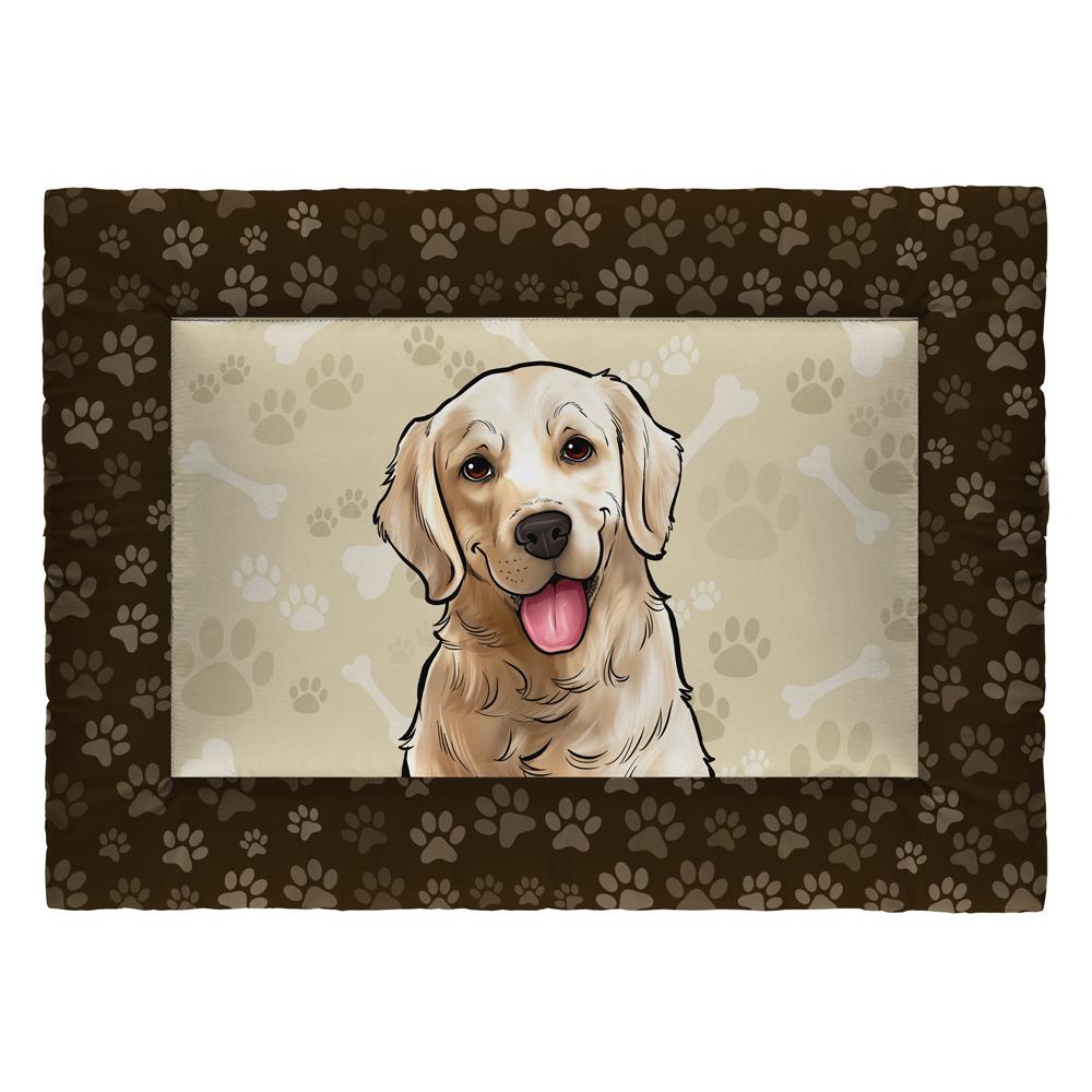 Colchonete Cama Tapete Pet Cães 87x60cm Marrom Golden Retriever