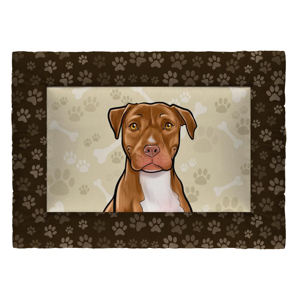 Colchonete Cama Tapete Pet Cães 87x60cm Marrom Pitbull