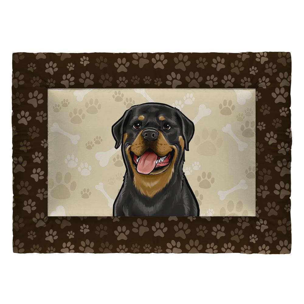 Colchonete Cama Tapete Pet Cães 87x60cm Marrom Rottweiler