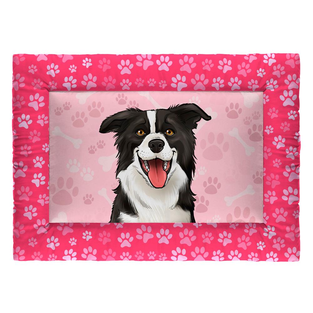Colchonete Cama Tapete Pet Cães 87x60cm Rosa Border Collie