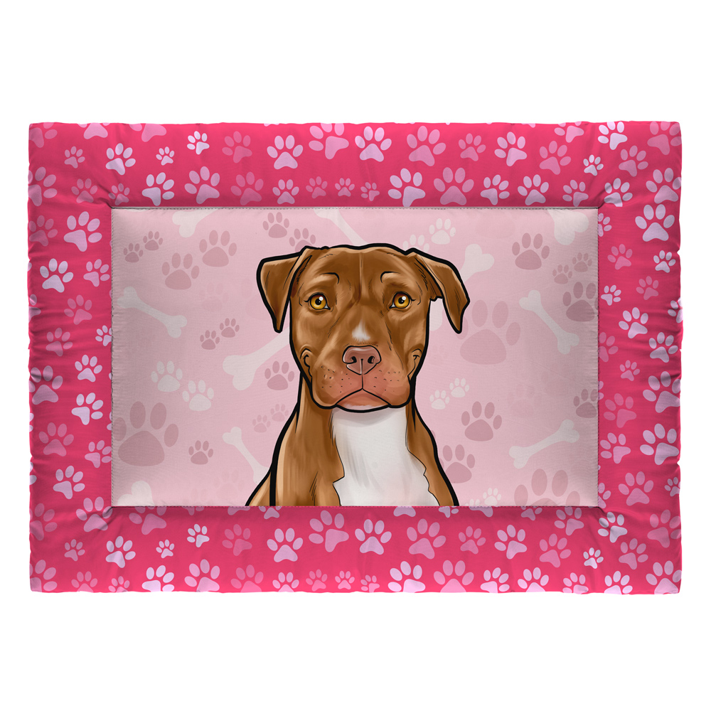 Colchonete Cama Tapete Pet Cães 87x60cm Rosa Pitbull