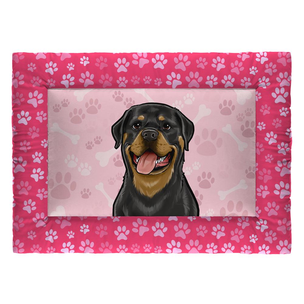 Colchonete Cama Tapete Pet Cães 87x60cm Rosa Rottweiler