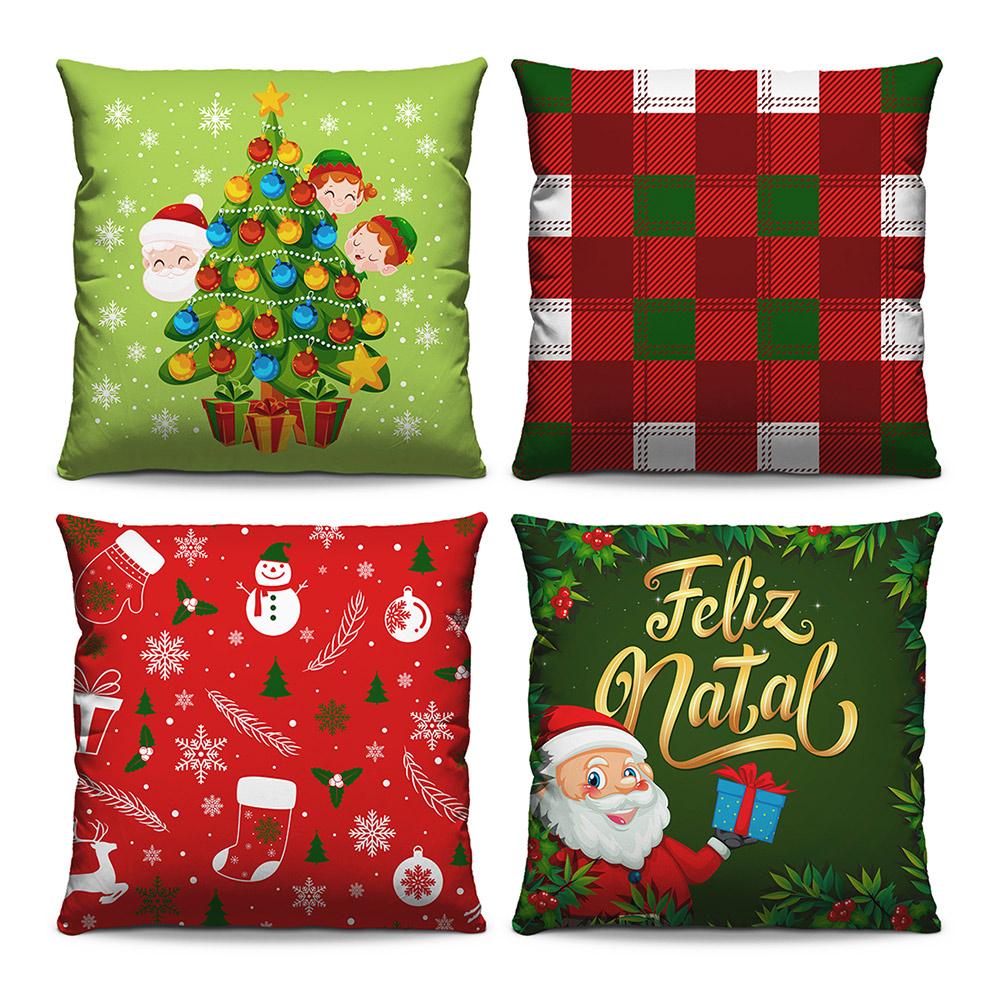 Kit 4 Capas de Almofadas Estampadas Decorativas 40x40 Natal Árvore Crianças Papai Noel