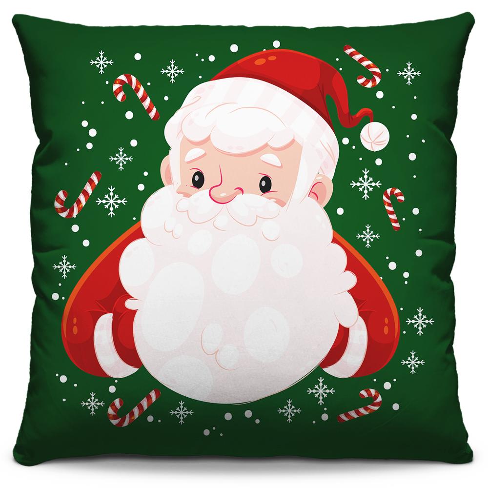 Kit 4 Capas de Almofadas Estampadas Decorativas 40x40 Natal Coleção Papai Noel