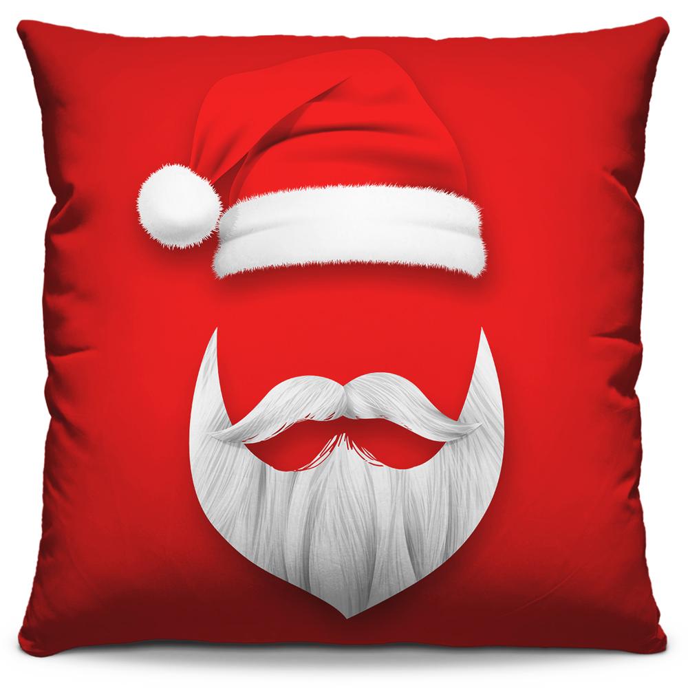 Kit 4 Capas de Almofadas Estampadas Decorativas 40x40 Natal Coleção Papai Noel Verde Vermelho