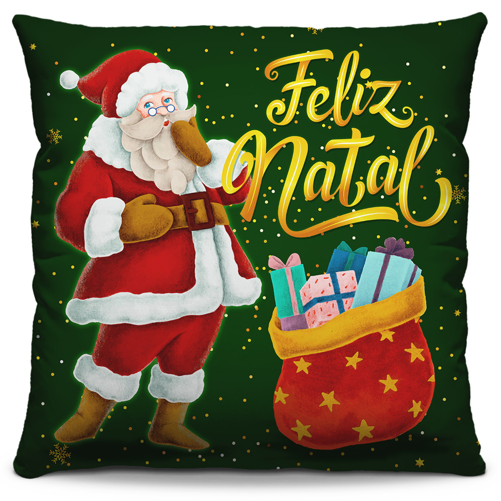 Kit 4 Capas de Almofadas Estampadas Decorativas 40x40 Natal Feliz Natal Vermelho Vinho Papai Noel Verde