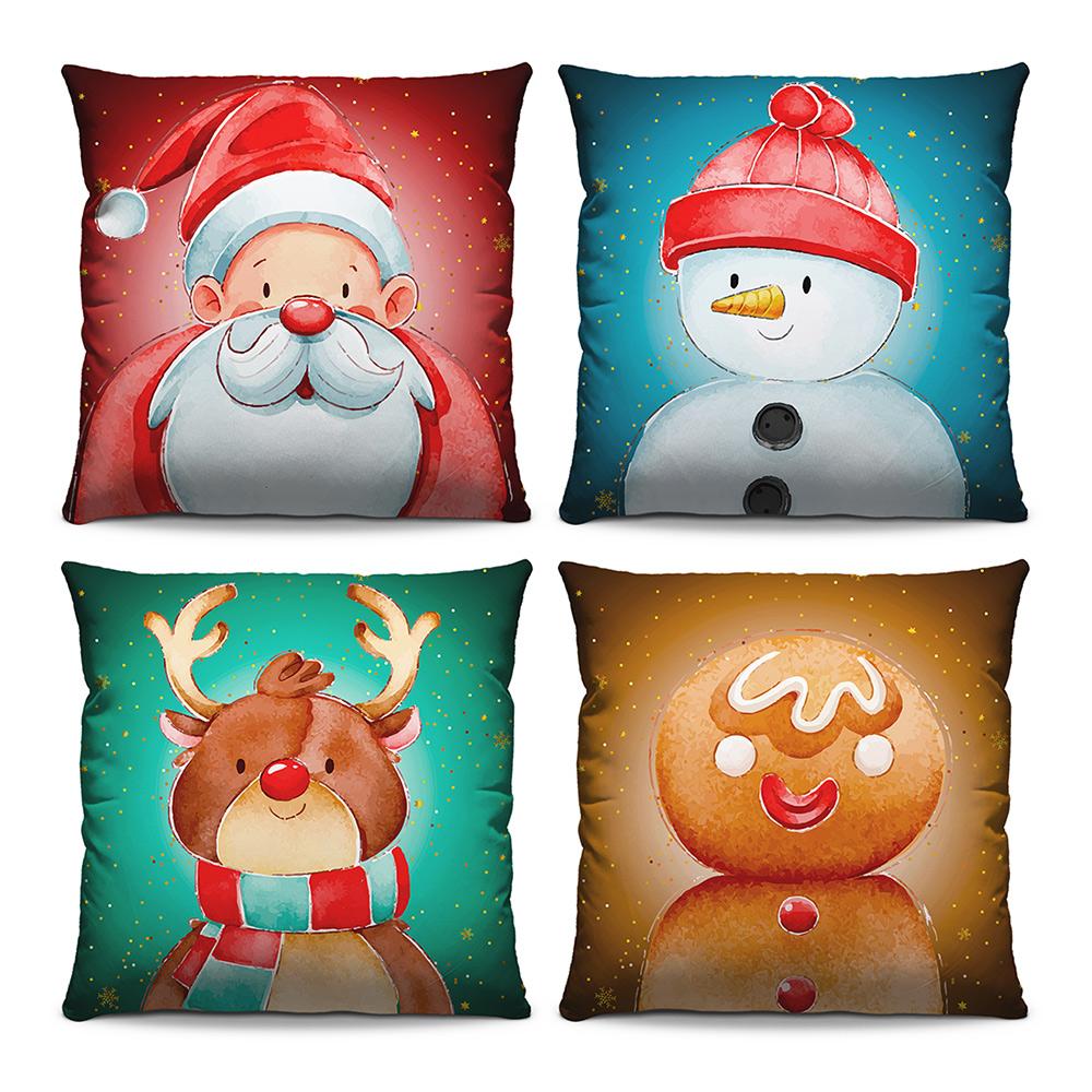 Kit 4 Capas de Almofadas Estampadas Decorativas 40x40 Natal Papai Noel Henna Boneco de Neve Biscoito de Açúcar