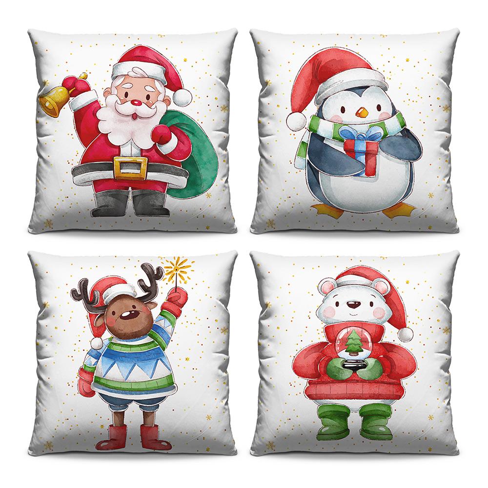 Kit 4 Capas de Almofadas Estampadas Decorativas 40x40 Natal Papai Noel Pinguim Henna Urso