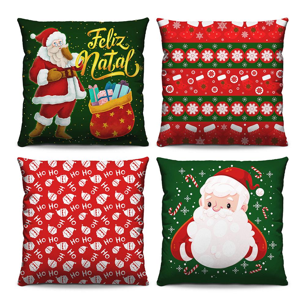 Kit 4 Capas de Almofadas Estampadas Decorativas 40x40 Natal Papai Noel Verde Feliz Natal