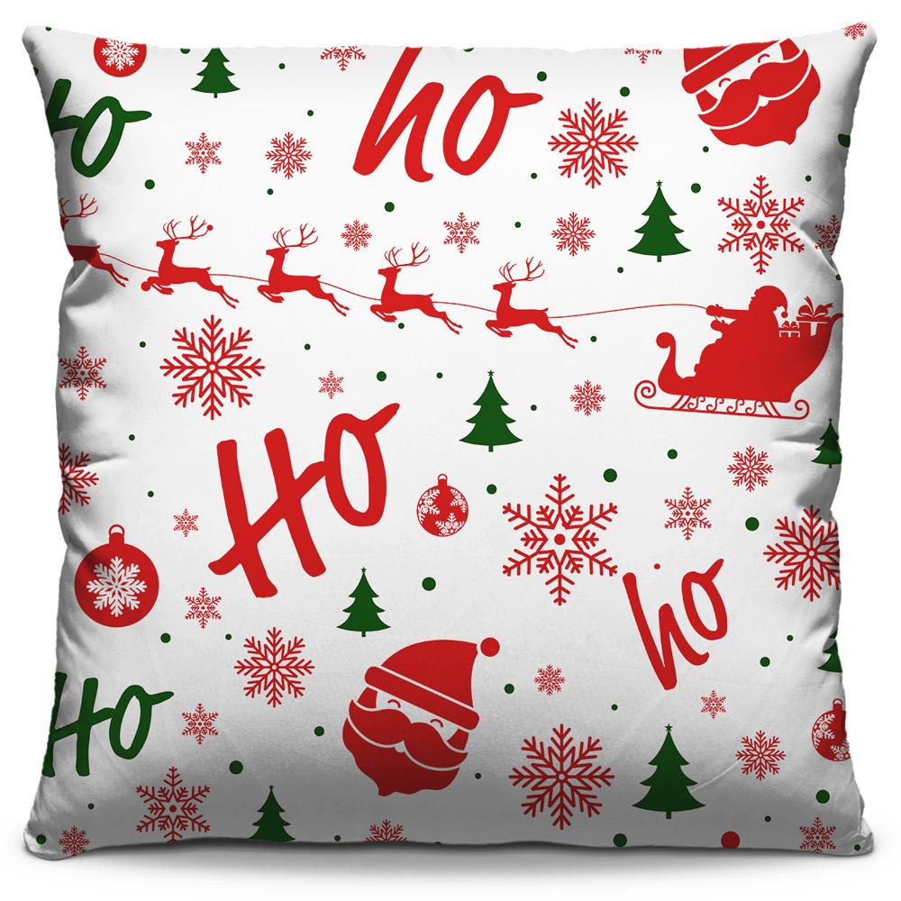 Kit 4 Capas de Almofadas Estampadas Decorativas 40x40 Natal Papai Noel Vermelho e Temas