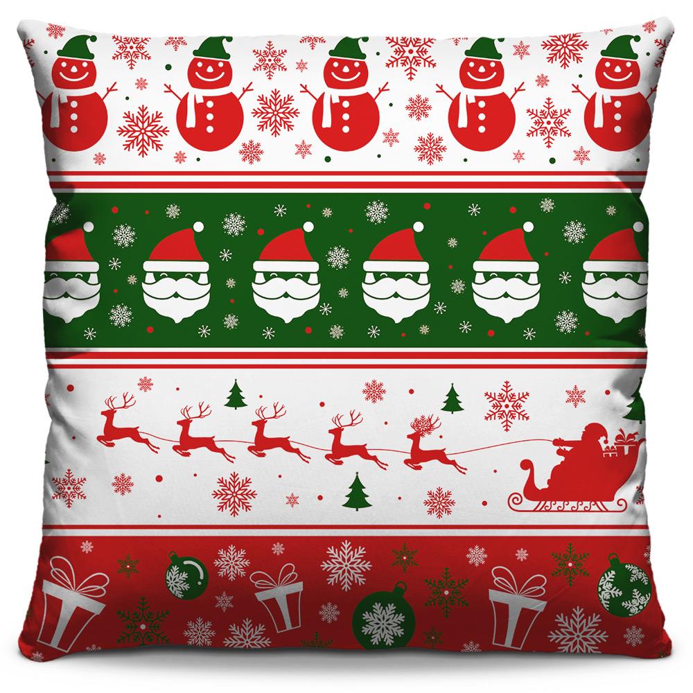 Kit 4 Capas de Almofadas Estampadas Decorativas 40x40 Natal Papai Noel Vermelho Temas Verde Branco Vermelho
