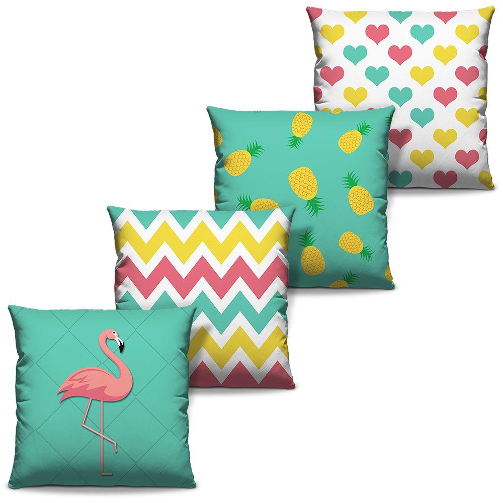Kit Combo Almofadas Estampadas Decorativas Flamingo 01