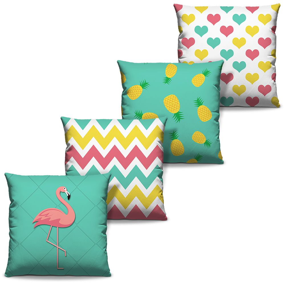 Kit Combo Capas de Almofadas Estampadas Decorativas Flamingo 01