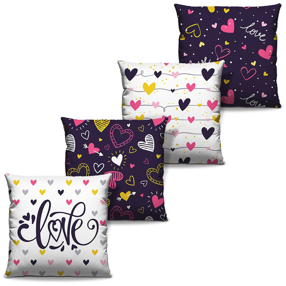 Kit Combo Capas de Almofadas Estampadas Decorativas Love 01