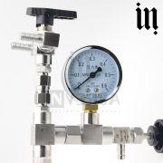 Enchedor de garrafas Contrapressão Inox 304 c/ Relógio Medidor