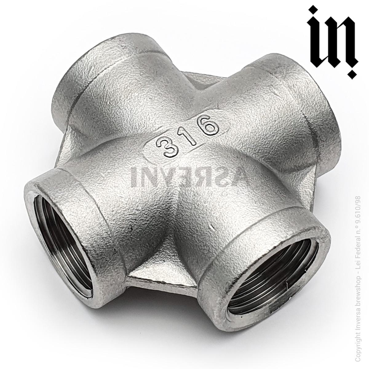 Cruzeta X 1/2pol Inox 316