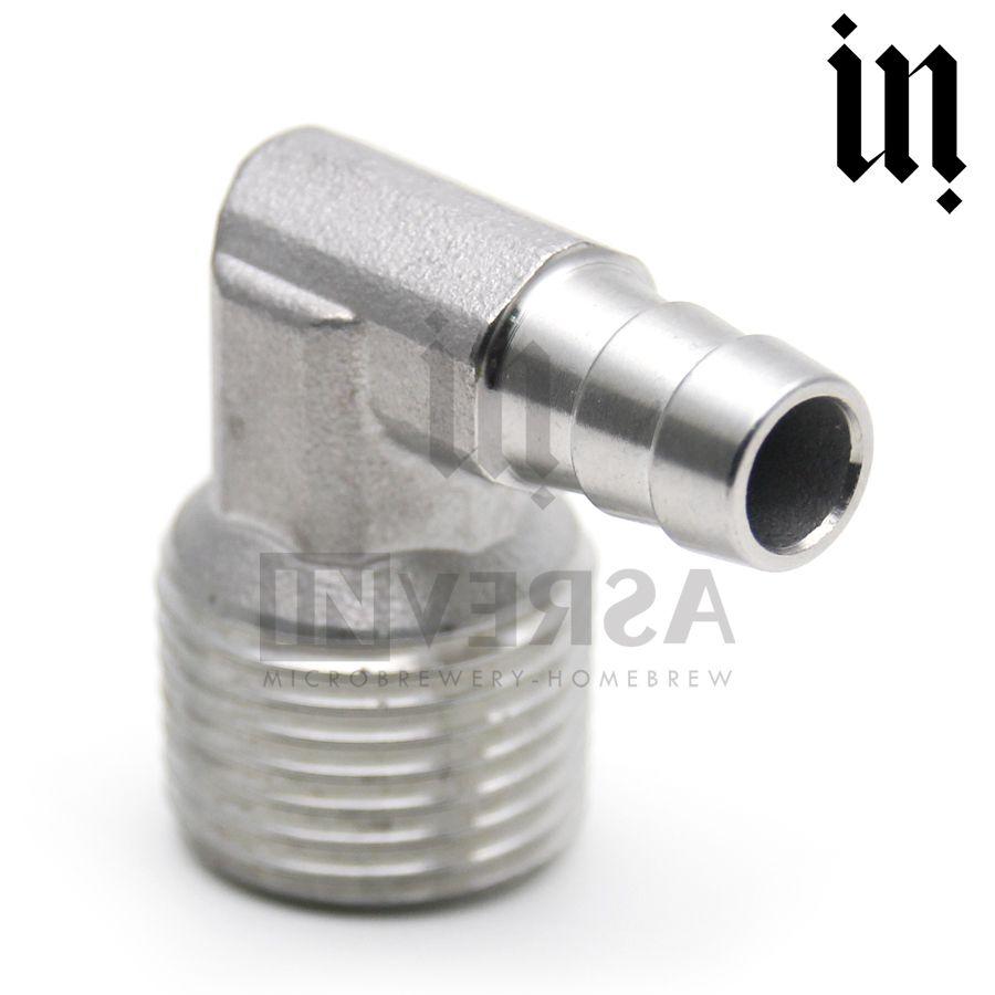 Espigão em L Inox 304 10mm c/ rosca 1/2'