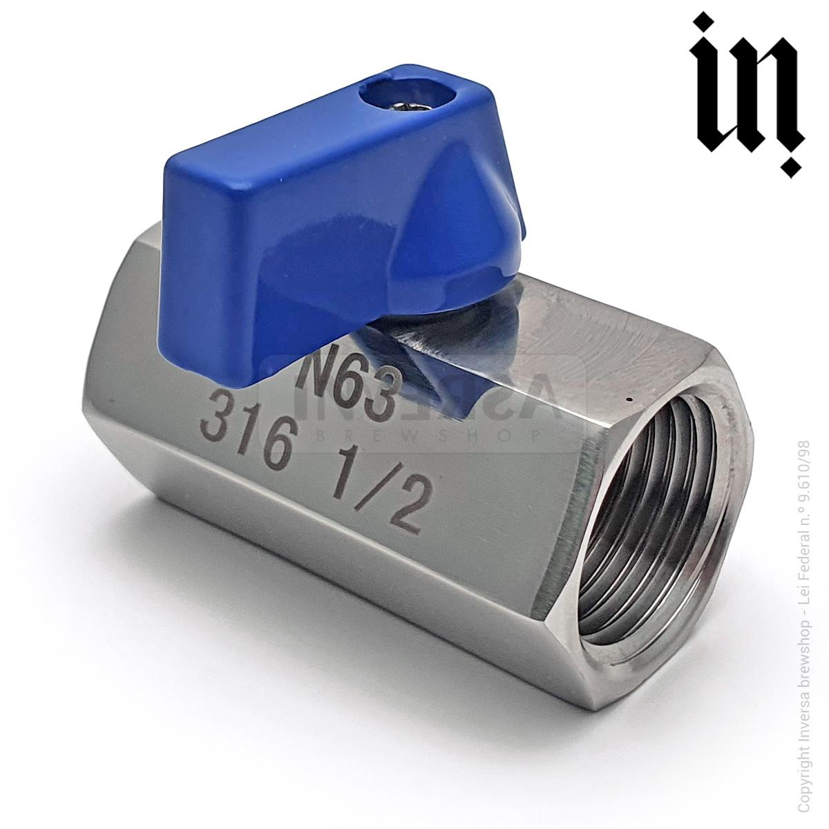 Mini Valvula rosca FF 1/2pol BSP Inox 316
