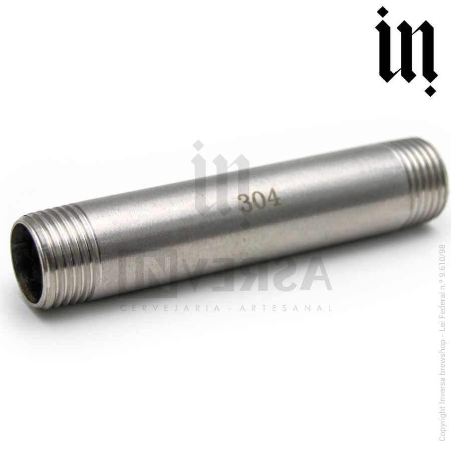 Niple Inox 304 Longo rosca 1/2pol