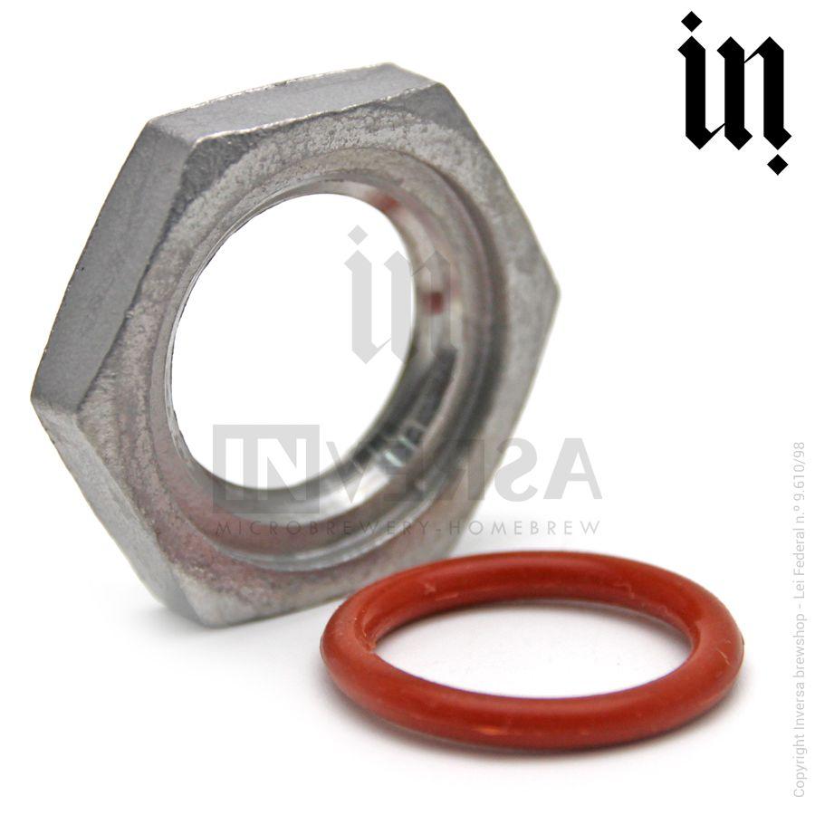 Porca p/ Vedação Inox 304 1/2pol + Anel Vedante