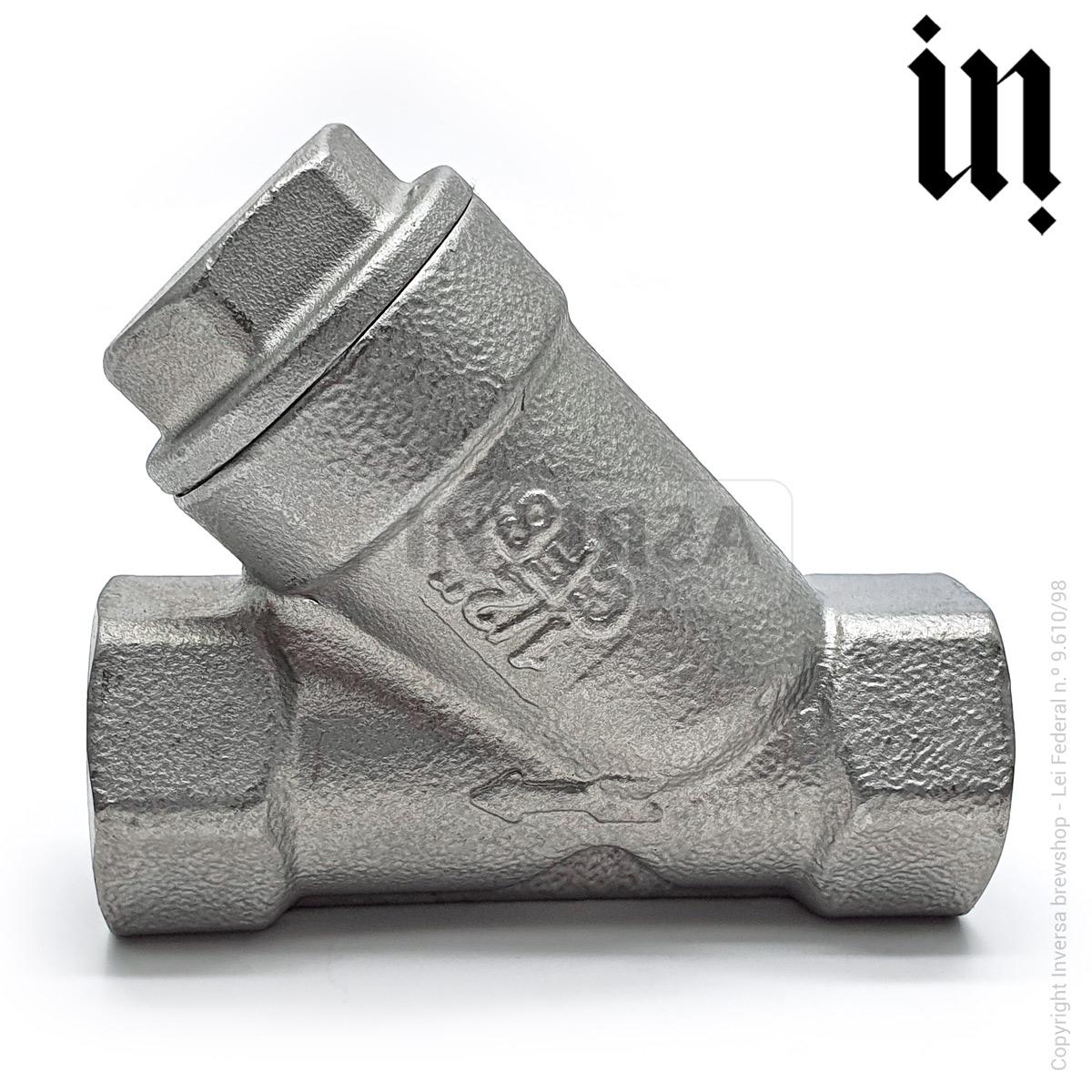 Válvula Filtro Y 150micra c/ rosca 1/2pol Inox 304