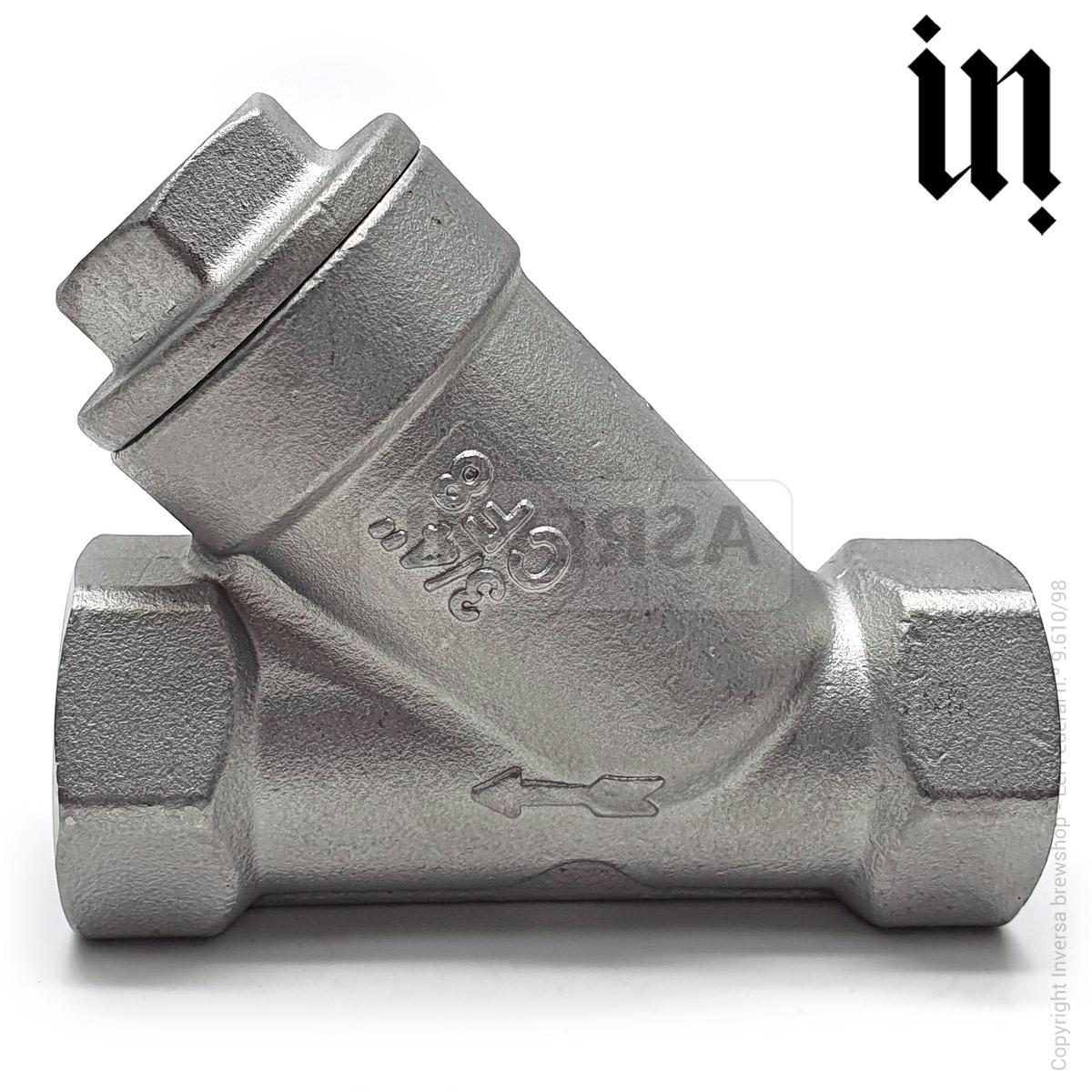 Válvula Filtro Y 150micra c/ rosca 3/4pol Inox 304