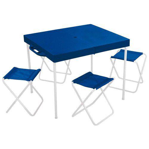 Mesa Prática com 4 Banquetas Azul - 3403 - MOR