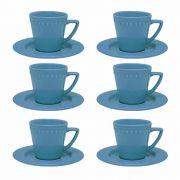 Conjunto de Chá 6 Xícaras 200ml com Pires Mendi Capri Oxford