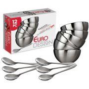 Conjunto de Sobremesa Inox 12 Peças Euro