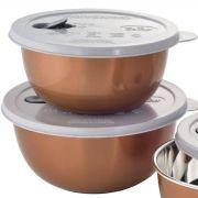 Jogo 3 Potes para Micro-ondas de Inox Mimo Style