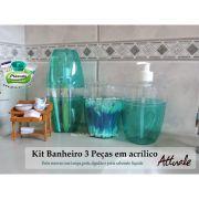 Kit Banheiro 3 Pcs Azul Turquesa Plasvale