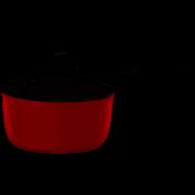 Panela Mônaco Vermelha com Tampa de Vidro 18cm