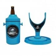 Porta Cerveja com Suporte Rotativo Azul e Preto Cervegela