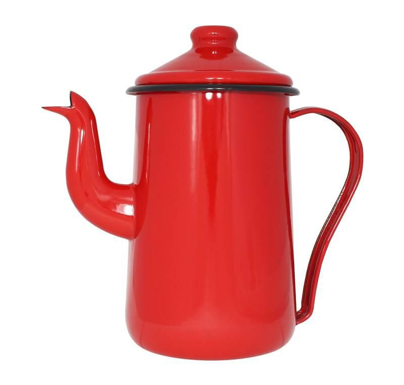 Bule para Café Tradicional 14cm Vermelho Esmaltado Mãe Ágata Ewel